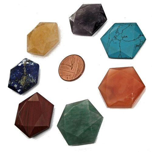 Set of 7 Chakra Crystal Hexagonal Reiki Flat Stones with Pouch